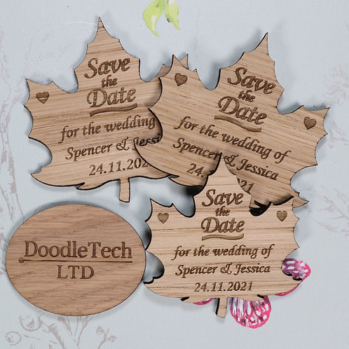 Autumn Leaf - Wooden Save the Date Magnets