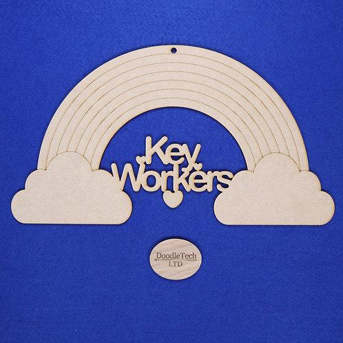 31x17cm Key Workers Rainbow Plaque XL (S1)