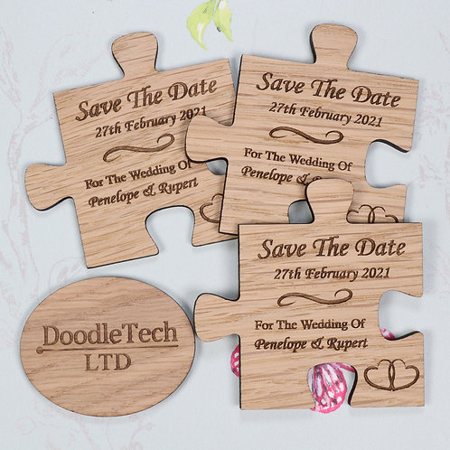 Jigsaw Piece - Wooden Save the Date Magnets