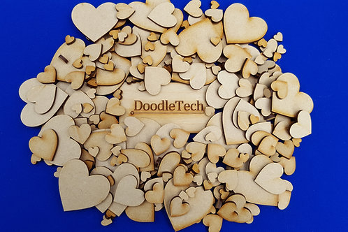 1-15cm MDF Hearts (3mm thick)