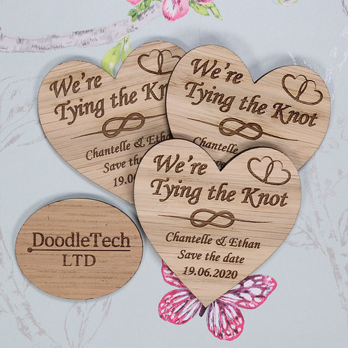 We're Tying the Knot - Wooden Heart Save the Date Magnets