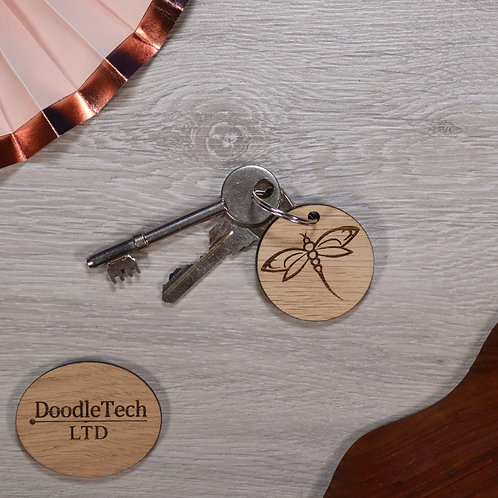 Dragonfly - Oak Keyring