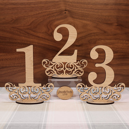 Oak Veneer Rustic - Freestanding Wedding Table Numbers