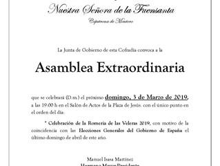 Asamblea Extraordinaria | Cofradía de Ntra. Sra. de la Fuensanta
