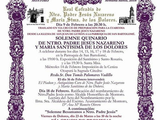 QUINARIO NTRO. PADRE JESÚS NAZARENO del 14 al 18 de Febrero