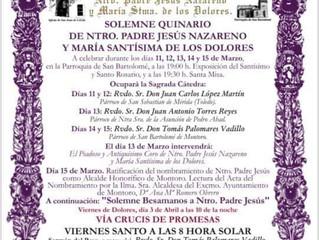 Quinario Ntro. Padre Jesús Nazareno y Mª Stma. de los Dolores