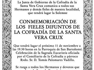 Misa difuntos Cofradía Vera Crux, 11 de Noviembre 19.30 horas