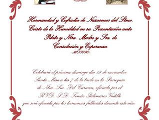 Misa de difuntos, Hermandad Humildad 19 de Noviembre 19.30h