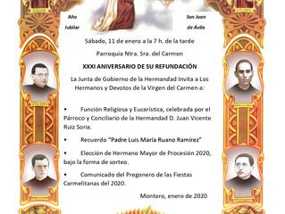 XXXI Aniversario Refundacion Hermandad de Ntra. Sra. del Carmen