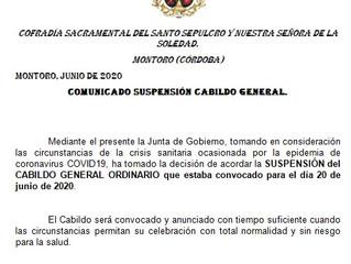 Suspensión Cabildo General Ordinario | C. S. Santo Entierro