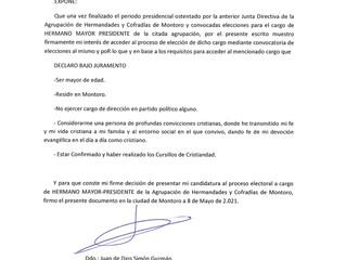 CANDIDATURA JUAN DE DIOS SIMON GUZMAN
