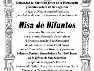 Misa de difuntos Hermandad Misericordia y Angustias, 4 de Noviembre 2017