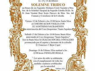 Triduo Cofradía Sacramental Santo del Sepulcro y Ntra. Sra. de la Soledad