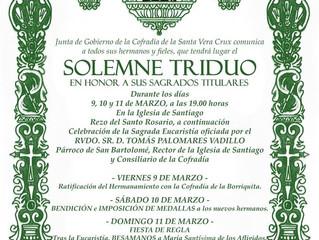 Triduo Cofradía Vera Crux 9, 10 y 11 de Marzo 19.00h Iglesia de Santiago