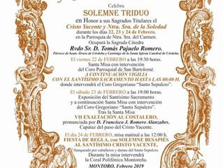 Triduo Santo Sepulcro y Ntra. Sra. de la Soledad | 22, 23 y 24 Febrero