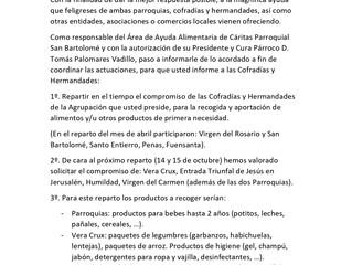 Recogida alimentos y productos CARITAS Parroquial Montoro para cubir necesidades de la Pandemis COVI