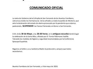 Suspensión Fiestas Patronales San Fernando