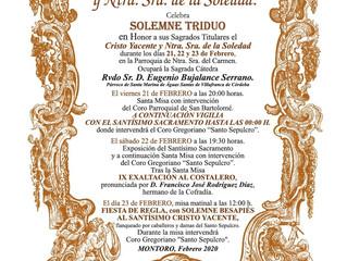 Triduo Santo Sepulcro y Ntra. Sra de la Soledad | 21, 22 y 23 Febrero