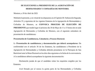 ELECCIONES PRESIDENTE AGRUPACIÓN DE HERMANDADES Y COFRADÍAS MONTORO