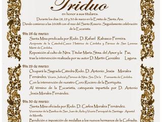 Triduo Borriquita 28, 29 y 30 de Marzo