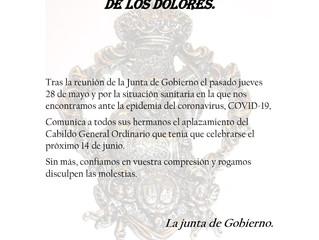 Aplazado Cabildo General Ordinario | R. C. Padre Jesús Nazareno