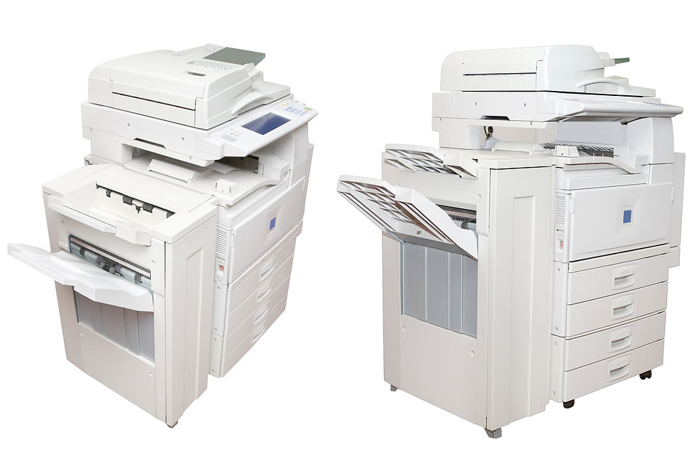 Office copier center under the white bac