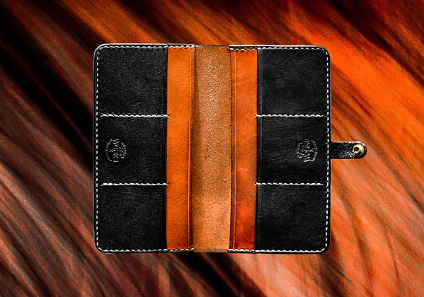 Saddle Tan/Black Long Wallet