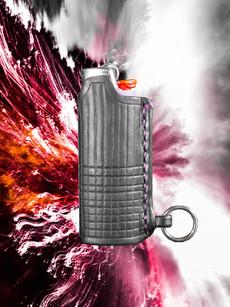 Black Tooled Lighter Holder