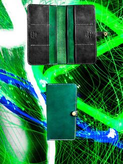 Green + Black Long Wallet