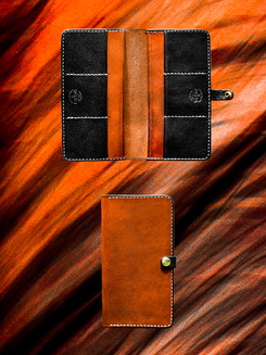 Saddle Tan + Black Long Wallet