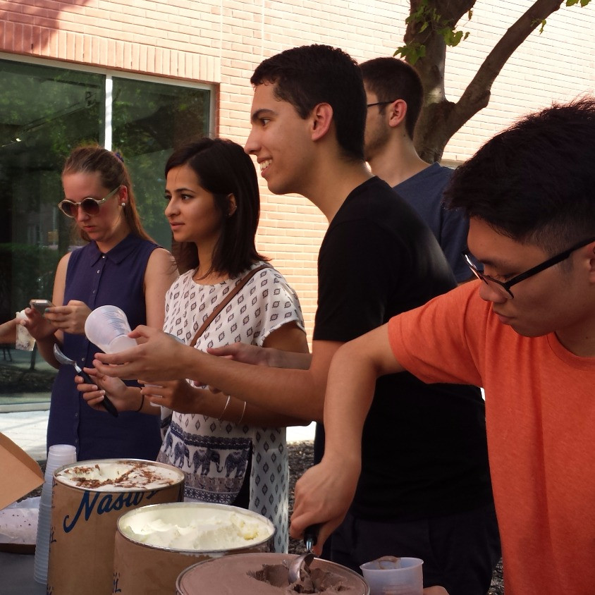 Chapter President, Ryan Cusack, serving ice cream with fellow Board members during AIAS NJIT's annual Ice Cream Social event.