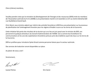 13 novembre (nouvelle date) 2018 - Réunion avec ERD à Grand-Sault