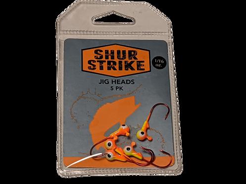 Shur Strike Round Jig Head 1/16 Oz Orange/Chartruese Red Hook