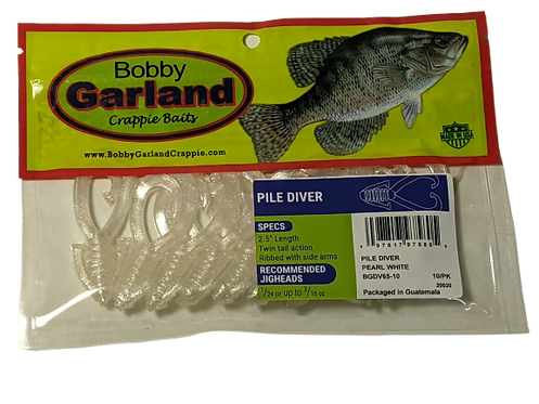 Bobby Garland Crappie Baits Pile Diver Pearl White
