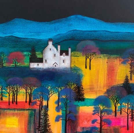 'Moonlight Castle on Hilltop'