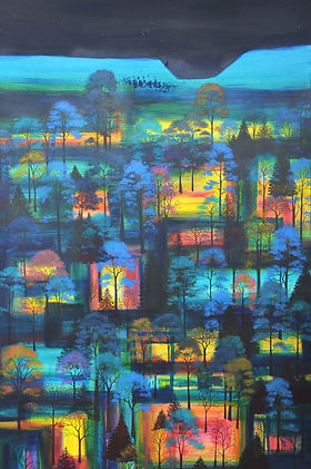 Archive of sold work. Image: 'Party Before Dawn'. Mixed media. 100x120cm. Erraid Gaskell