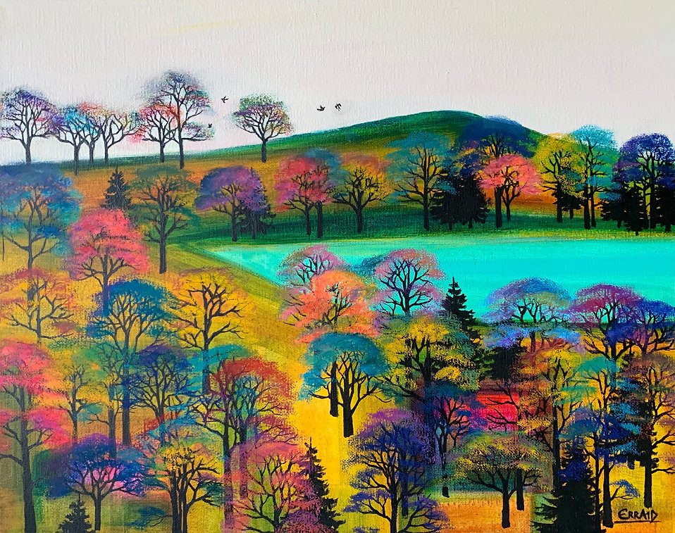 Landscape painting. 'Lochside Bliss' by Erraid Gaskell