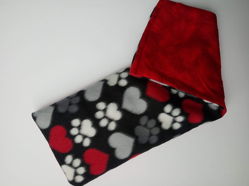 Red Paw Print & Hearts