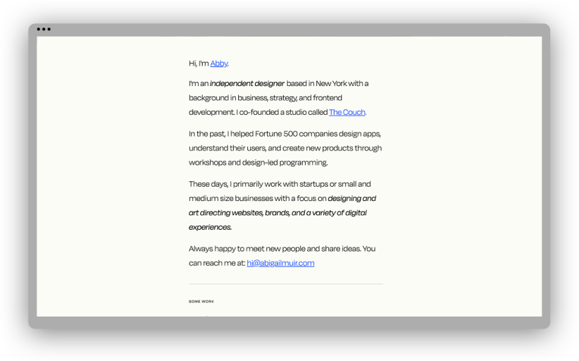 A screenshot of Abigail Muir's portfolio website, showing a block of text introducing Abby and her background in the first person.