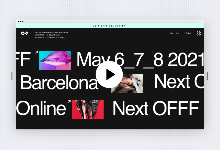 Image for OFFF Barcelona website 2021. There is a black background with a grid across it showing 3 lines, with a mixture of text and images in each of the lines.