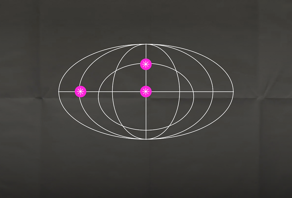 A 2-dimensional image of a an abstract globe created with thin white lines over a black textured background. Three pink circles with a white asterisk in each are placed on the globe.