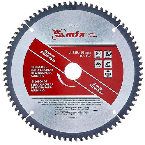 Disco Serra Circular Widea Mtx P/ Alumínio 250mm 10 Pol 80 D