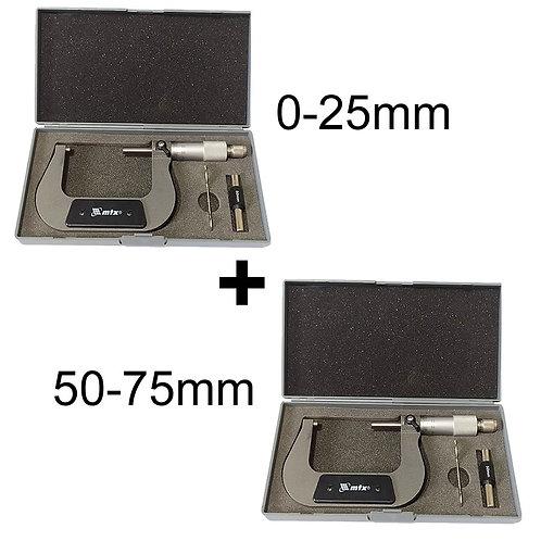 Kit Micrômetro Mecânico 0-25 E 50-75 Mm Estojo Original Mtx