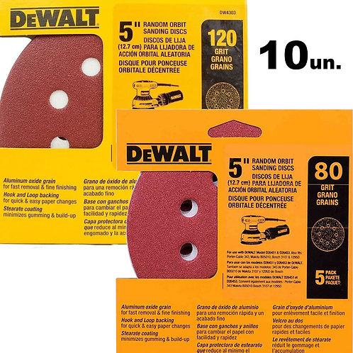 Kit Disco De Lixa Roto Orbital 5' 10 Un Grão 80 E 120 Dewalt