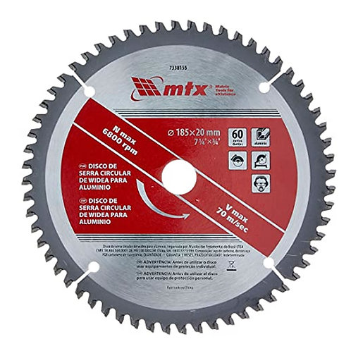 Disco Serra Circular P/ Alumínio 185mm 60 Dentes Prof. Mtx