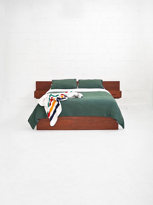 Teak Queen Bedframe with Mounted Night Tables