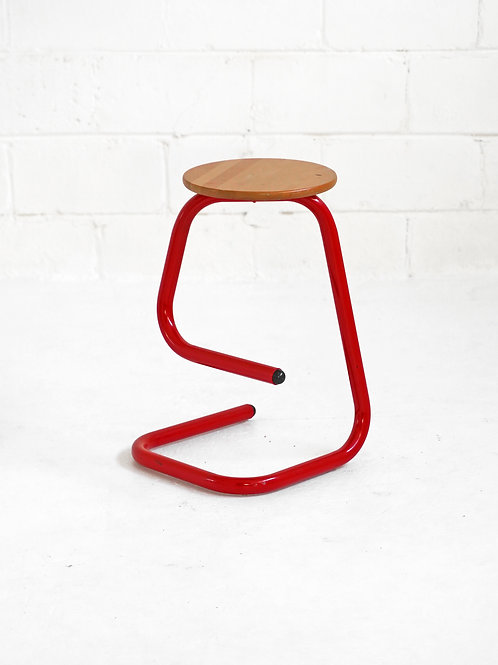 Vintage Metal Tubular K700 Paperclip Stool in Red for Amisco