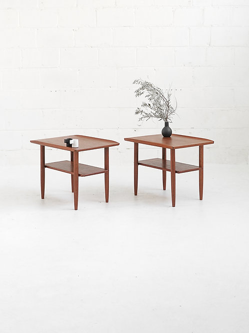 Pair of Teak Side Tables with shelf