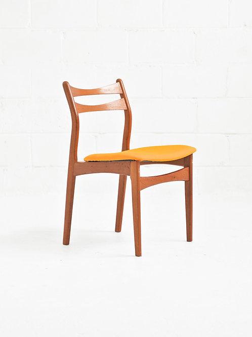 Set of 6 Danish Teak Dining Chairs in Mustard