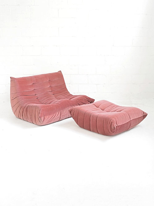 Togo Loveseat and Ottoman in the style of Michael Ducaroy for Ligne Roset
